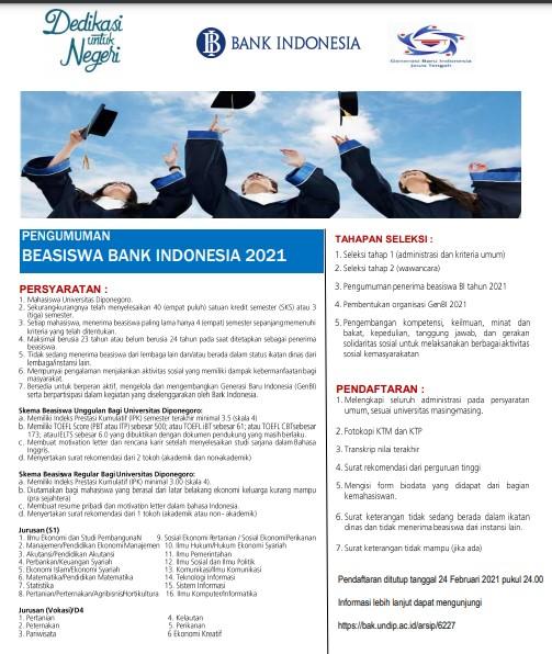 Tawaran Beasiswa Bank Indonesia Tahun 2021 UNDIP.