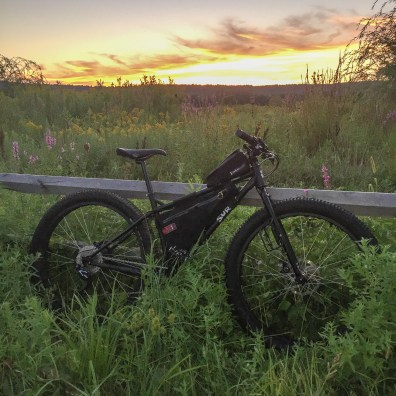 My Surly Krampus Ops looking glorious in the waning light. She was all packed up and ready to go for D2R2 the next morning and I couldn't have been happier.