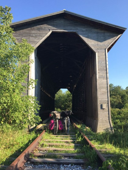 The Fisher Covered Railroad Bridge outside of Wolcott