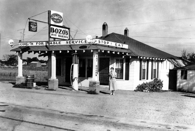 Aunt Iris standing in front of Bozo's.(1933 Building)