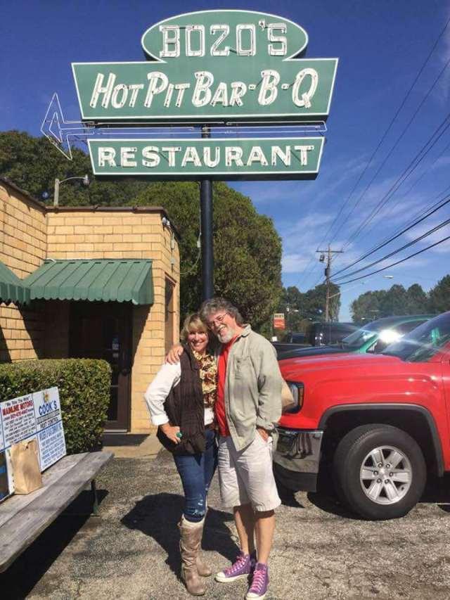 Mary Lynne Williams with Kenny Faulk at Bozos Bar-B-Q in 2018