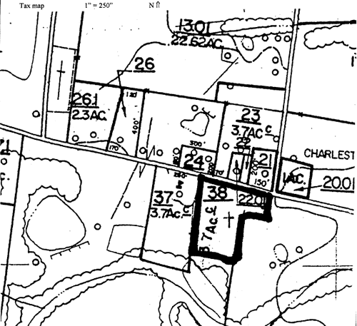 Image from National Register of Historic Places Registration Form for Charleston United Methodist Church and Cemetery. The property is roughly a rectangular shape of 3.70 acres, marked as parcel number 38 on the attached Tipton County Tax Map number 75, which includes the church and the adjoining cemetery. The Covington-Stanton road borders the north side, a tennis court the west side, a line of trees and home on the east side and a line of trees on the south side.