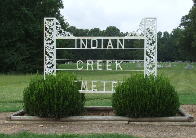 Indian Creek Cemetery Sign in Brighton Tennessee