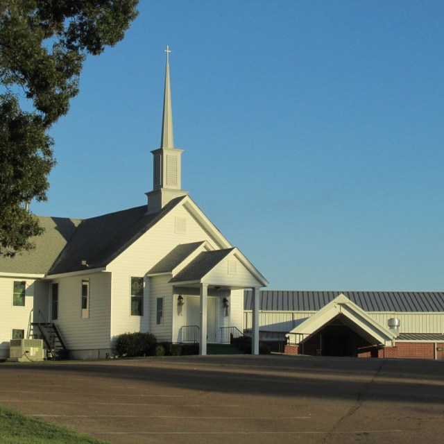 Poplar Grove Church in Drummonds Tennessee with second building visible
