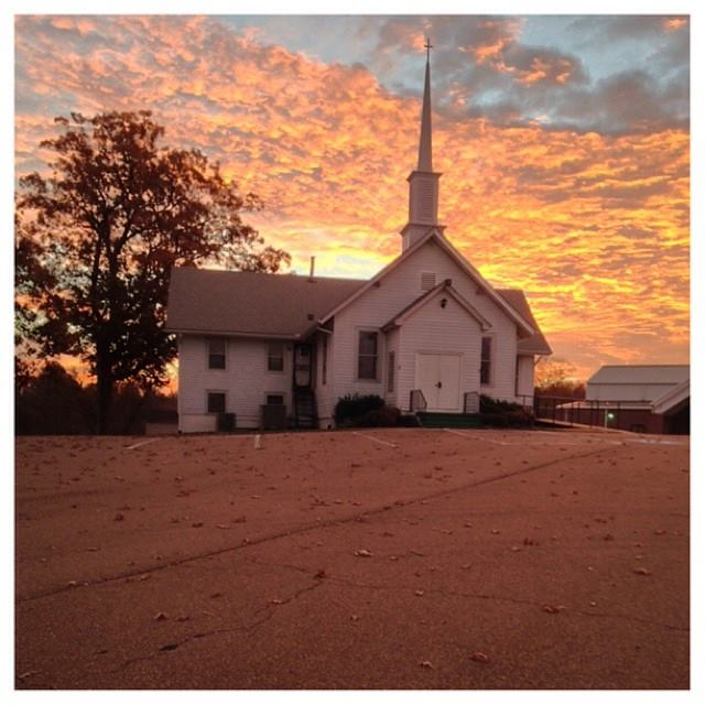 Beautiful Sunset at Poplar Grove Church in Drummonds Tennessee