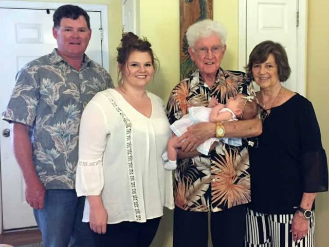 Look what Granny Gross did! - Four generations of Grosses - Jeff (grandson), Tara (g Granddaughter), Norris (Son), Nancy (daughter-in-law), and Lainey Grace (gg granddaughter)