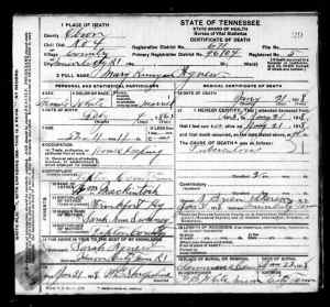 Agnew, Mary Runyan - Death Certificate