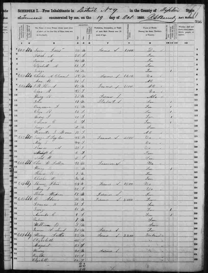 Image 1 1850 Census District 9 Tipton County Tennessee