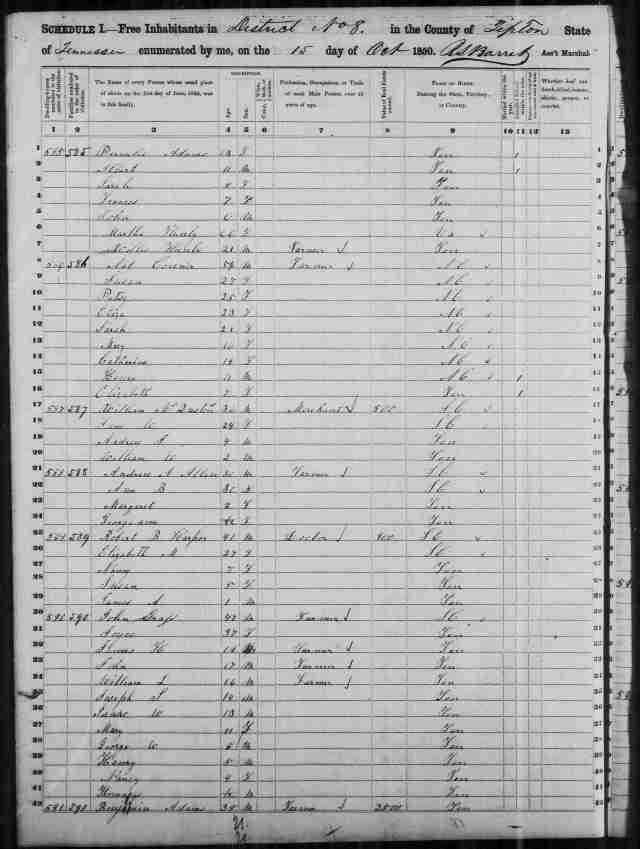 Image 10 1850 Census District 8 Tipton County Tennessee