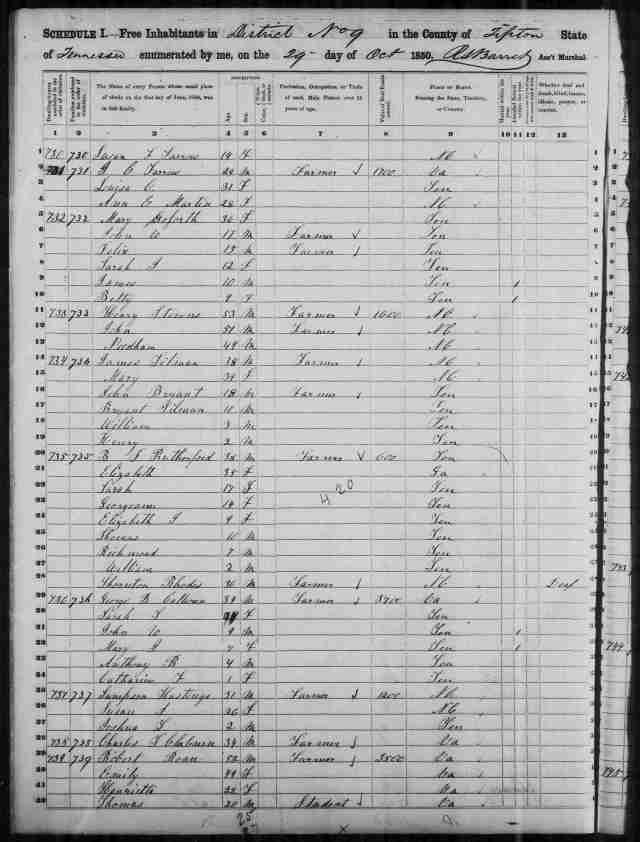 Image 10 1850 Census District 9 Tipton County Tennessee