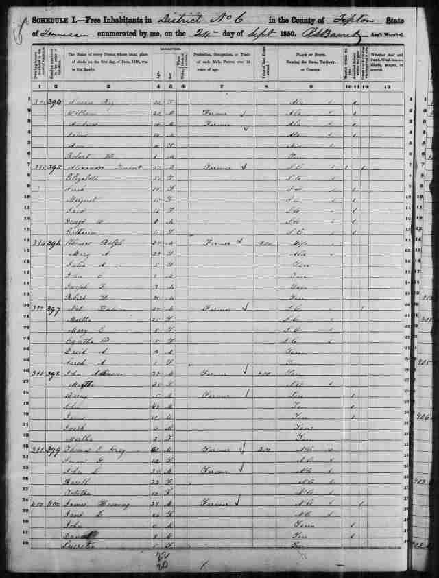 Image 2 1850 Census District 6 Tipton County Tennessee