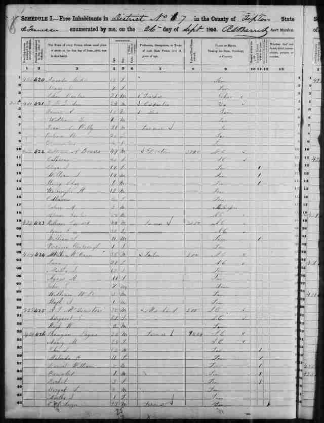 Image 2 1850 Census District 7 Tipton County Tennessee