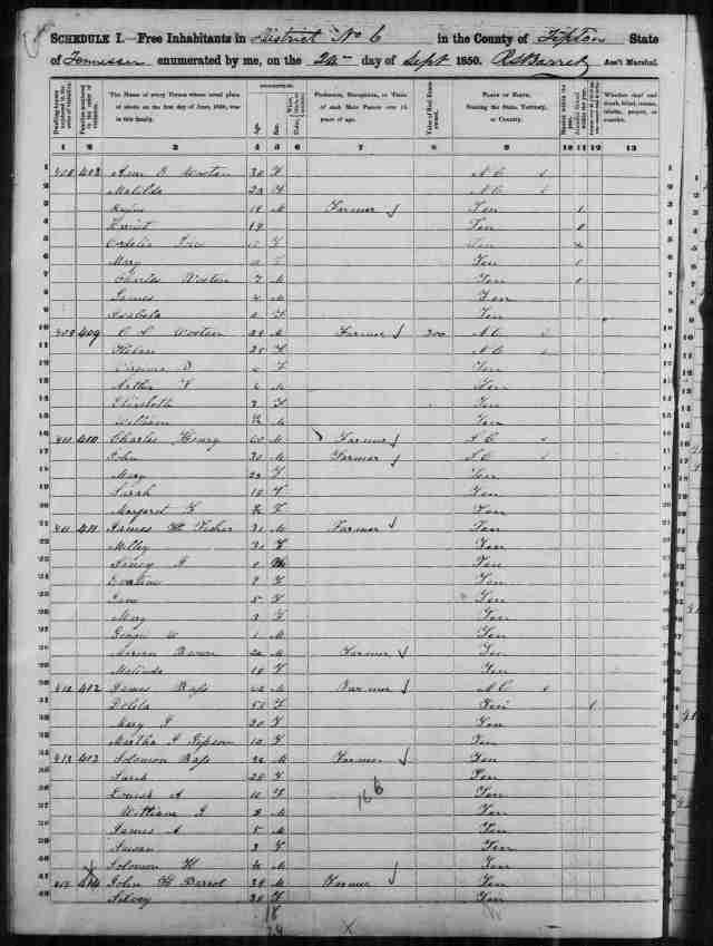 Image 4 1850 Census District 6 Tipton County Tennessee