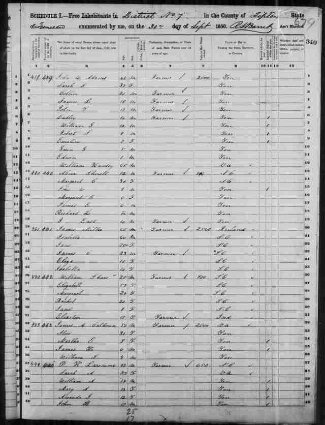 Image 5 1850 Census District 7 Tipton County Tennessee