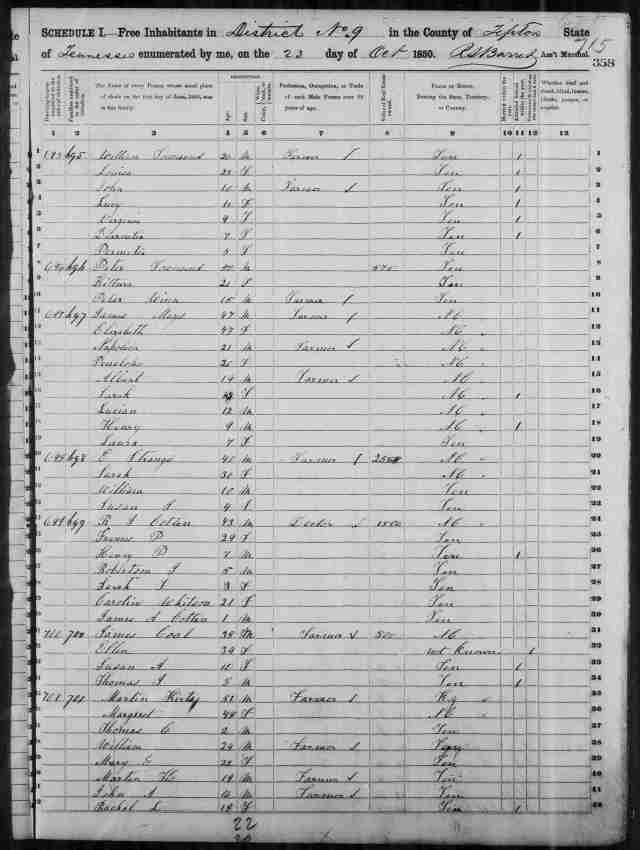 Image 5 1850 Census District 9 Tipton County Tennessee