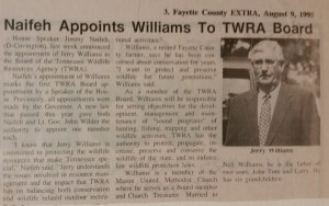 Naifeh Appoints Williams to TWRA Board