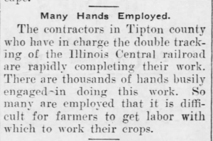 Many Hands Employed by Illinois Central Railroad