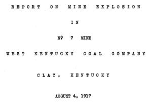 Report on Mine Explosion August 4, 1917