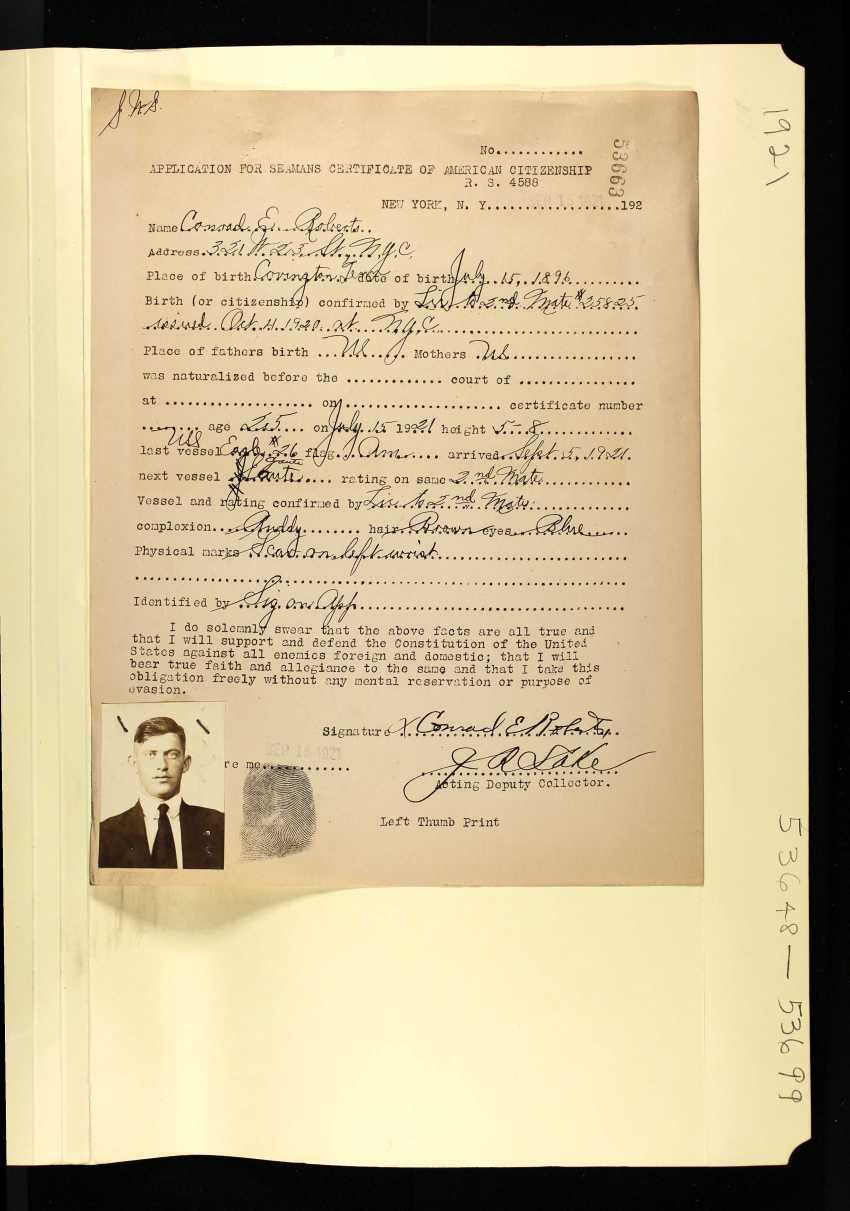 Roberts, Conrad E - Petition for Naturalization