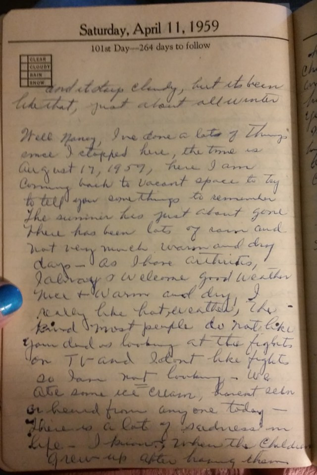 11 Apr 1959 - Mary F Nichols Diary