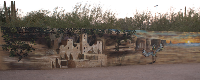 Block Wall mural - Cliff Dwelling  and Katchina dancer