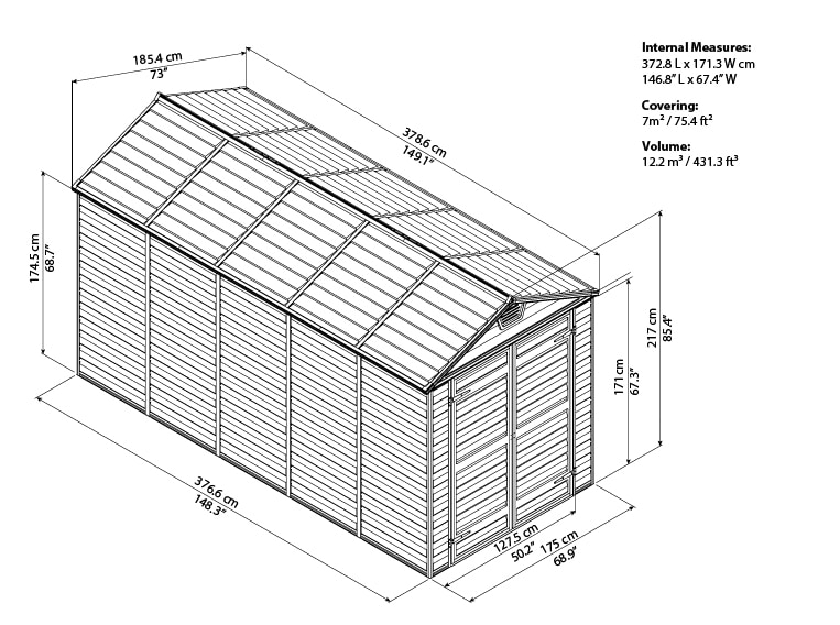Skylight Storage Sheds 6x12 bird's eye view