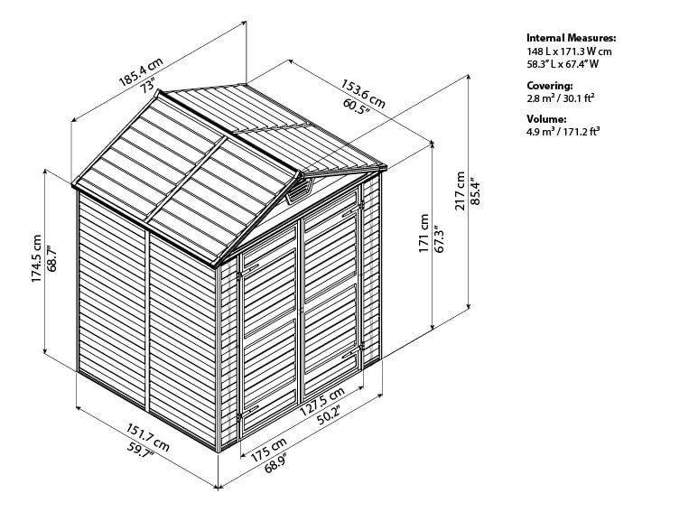 Skylight Storage Sheds 6x5 elevation