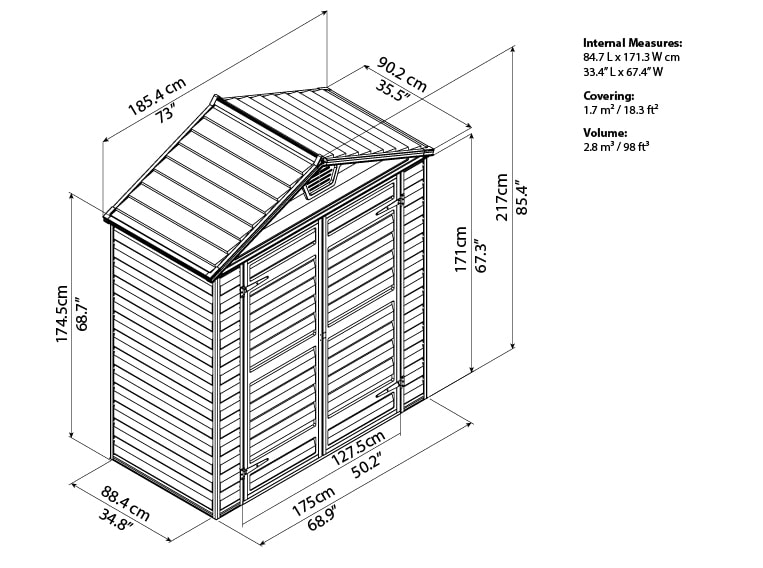 Skylight Storage Sheds 6x3 bird's eye view