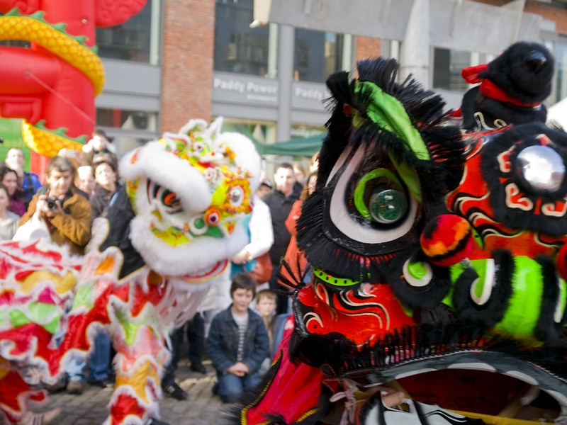 Dublin's Chinese New Year parade lion dancing