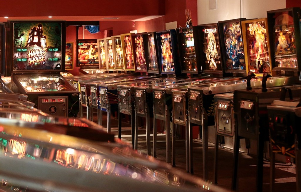 Pinball machines lined-up at Budapest Pinball Museum