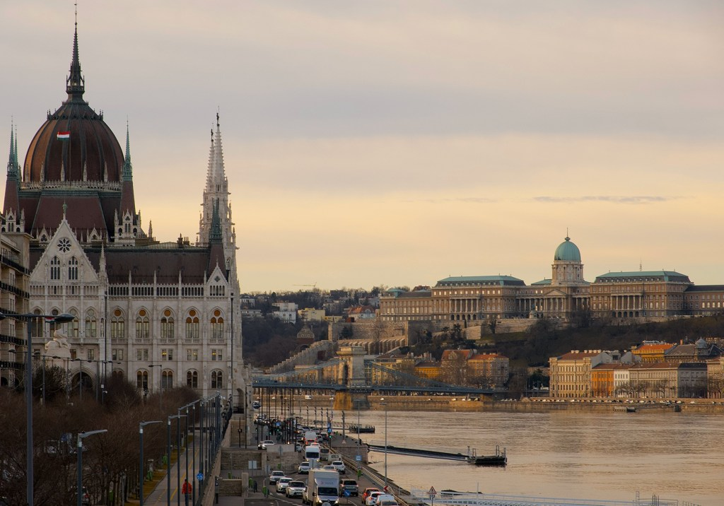 A view of Buda Castle from across the Danube River