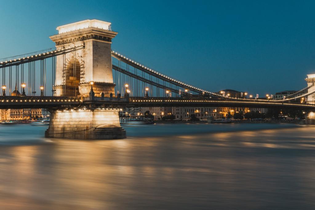 A nighttime view of Szechenyi Chain Bridge