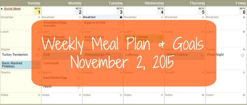 Weekly Meal Plan & Goals – November 2, 2015