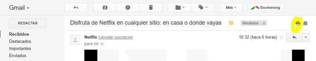 Se muestra donde se encuentra el botón de imprimir en Gmail