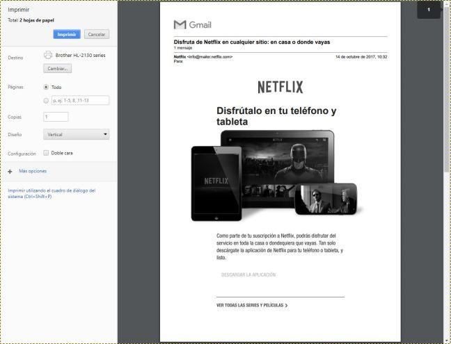 Se muestra la vista previa de un correo donde se aprecia el logotipo de Gmail arriba del todo
