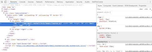 Captura de pantalla del código fuente del correo electrónico