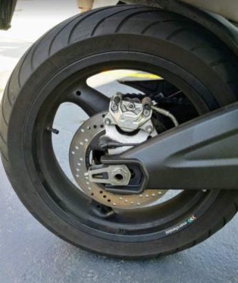 En la foto la rueda trasera
