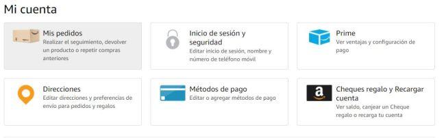 Captura de pantalla de las opciones principales que Amazon te proporciona para gestionar tu cuenta