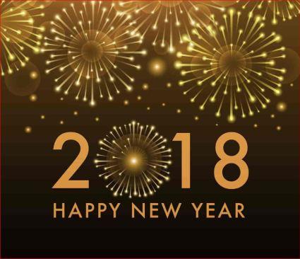 Imagen de fuegos artificiales con la cifra del 2018 de Año Nuevo