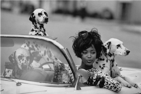 Foto de la modelo Naomi Campbell sentada en un coche descapotable con tres perros dálmatas que le acompañan.