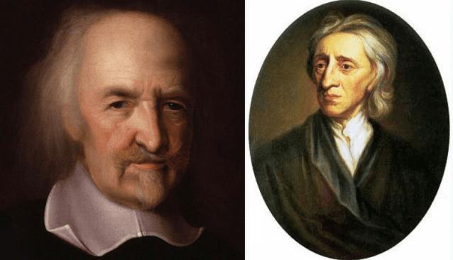 Foto de los filósofos Thomas Hobbes y John Locke