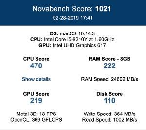 Captura de pantalla de los resultados obtenidos en el test Novabench