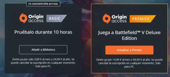 Una captura con las dos opciones de suscripción que existen para el servicio Origin Access