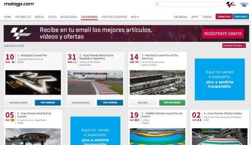 Una captura con la sección de calendario de la web oficial de MotoGP