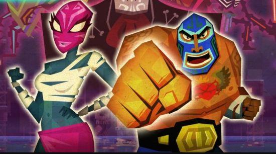 En la foto la portada del videojuego Guacamelee! mostrando un luchador de lucha libre mexicano y una heroína con máscara