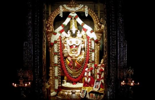 Lord Sri Venkateswara In The Garbha Griha Of A Temple