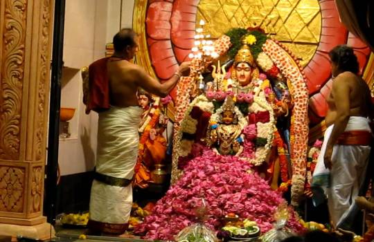 1008 Lotus Pooja To Goddess Gurga In Sri Krishnan Temple