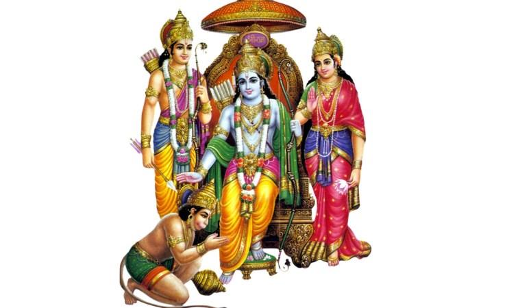 Lord Sriram With Goddess Sita And Lord Hanuman