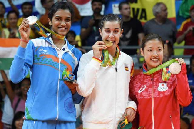 P V Sindhu With Other Medal Winners On The Rio Olympics Podium
