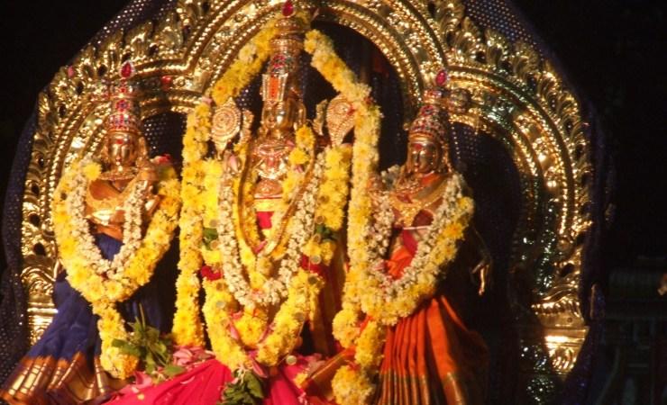 Lord Vishnu with Goddesses Sridevi and Poomadevi